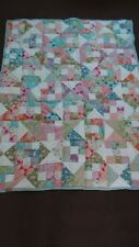 "handmade patchwork quilted throw, tilda harvest 100% cotton fabric  - 60"" x 48"""