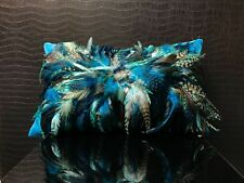 Special Hand made : Decorative Feather/Velvet Cushion with pad Aqua Blue .