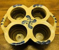 Bruce Stebner Pottery Hartville Ohio Salt-Glazed Stoneware Muffin Dish Cobalt