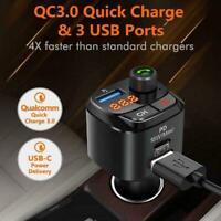Bluetooth 5,0 FM Transmitter für Auto, QC3.0 + Typ-C 18W Adapter Radio PD F9M8
