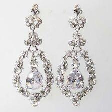 Clear Vintage Style Rhinestone Crystal CZ Bridal Wedding Chandelier Earrings