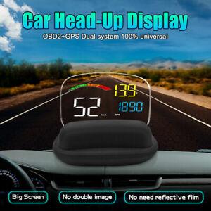 Digital Car HUD Head Up Display OBD2 Projector Speedometer Speed Warning Alarm