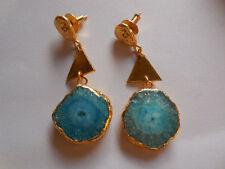 Gold Edge Druzy Slice Piercing Earring Gemstone Fashion Jewelry Blue Slice