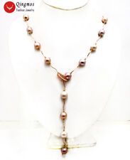 9K Rose Gold Round Purple Edison Pearl Women's Necklace And Bracelet Set-nec6452