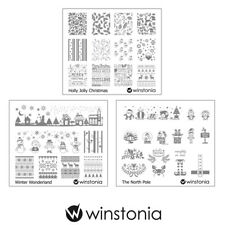 Winstonia 3pcs Christmas Nail Stamp Image Plates Set Easy Stamping Manicure Kit