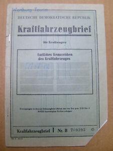 KFZ Brief Kraftfahrzeugbrief DDR PKW Wartburg 353 EZ 1968 Tou gelb Berl. Pankow