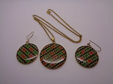 VINTAGE TARTAN STYLE NECKLACE AND EARRING SET GOLD TONE METAL PROM PARTY FEST