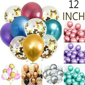 "6-50 pcs 12"" Metallic Pearl Chrome Latex Balloons for Birthday Party Wedding UK"