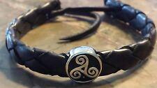 Rounded Woven Adjustable Bracelet Irish Pewter Black Leather