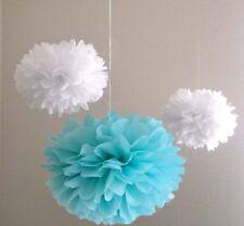 10x Blue White paper pom poms engagement wedding 21st birthday party decorations