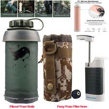 Portable Water Filters Bottle|Pump Water Filter Purifier Survival Emergency Kits