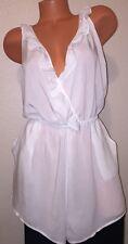 Victoria's Secret VS Ruffle Romper Swimsuit Cover Up, Large, Cream white
