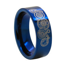 8mm Blue Tungsten Ring w/ Time Lord Symbol - Doctor Who size US 6-13 / AU M-Z1