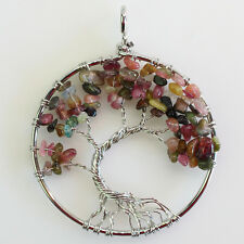 Natural Tourmaline Chip Beads Tree of Life Reiki Chakra Silver Pendant
