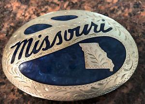 Vtg Award Design Medals STATE OF MISSOURI Buckle Silver & Blue Enamel Inlaid