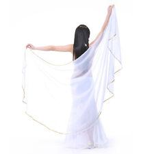New Belly Dance Chiffon Veil Semicircle Arc Gold Edge Scarf Shawl Veil 12 colors