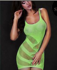Lime Verde/Giallo a Righe ritaglio Mini Chemise vestito lingerie intimo S 6-12 UK