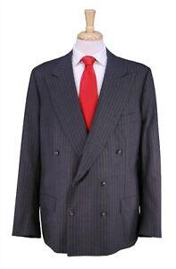 Kiton Gray Pinstripe 2-Btn Double Breasted Fleece Wool Handmade Suit