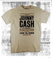 Folsom State Prison 1968 Johnny Cash Gig Poster Design Natural T-Shirt Big Sizes