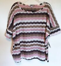 Annalee + Hope NEW Dolmen Short Sleeve Sweater Top Loose XL Pink Brown Chevron