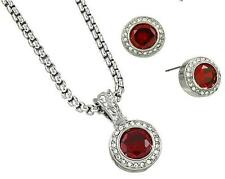 Red Ruby Clear Crystal Necklace Earrings Pendant Set Petite Rhodium Silver