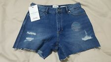 NEW RIDERS BY LEE HIGH RISE Women's Denim Shorts DISTRESSED Size 10 GIRLFRIEND