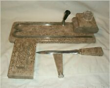 ANTIQUE 5 PC HEAVY MARBLE DESK SET WITH INKWELL & ACCESSORIES ART DECO GREAT!