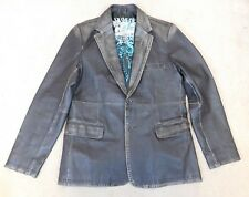 Ringspun men's brown distressed leather blazer w punched design detail size L