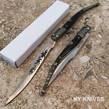 "8.5"" Old Style Spanish Folder Gold/Black Toothpick Pocket Knife NEW 5252"