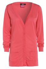 Womens New Button Boyfriend Cardigan Top Ladies Long Sleeve Pocket Cardi  8-26