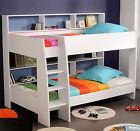 90x200 Bett Spielbett Kinderbett Etagenbett Hochbett Weiß Rückwand Blau Tam-Tam1 günstig