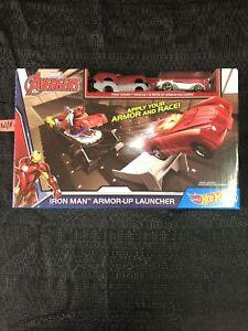 Marvel Avengers Iron Man Hot Wheels Armor-Uplauncher Play Set NEW