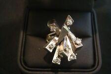 **VINTAGE**UNIQUE--14K WHITE GOLD DIAMOND COCKTAIL RING  Size 6