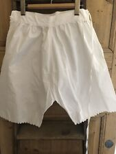 Antique French cotton PATCHED BLOOMERS pantaloons FESTONS c1900