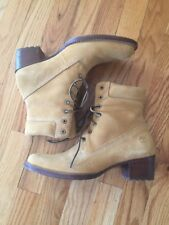 Timberland Suede High Heeled Boots Wheat 6.5 EUC 67317 2160