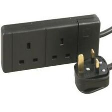 2M Extension Lead TWIN Socket 2 Gang Way 2 Metre Mains Lead Cable BLACK 13A 2G