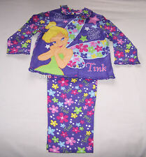 Disney Tinkerbell Girls Purple Printed Flannel Pyjama Set Size 5 New