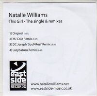 (ED291) Natalie Williams, This Girl - The Single & Remixes - DJ CD