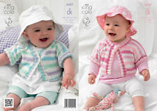King Cole DK Knitting Pattern 3607:Girls Cardigans with Knitted flowers