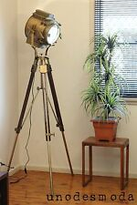 BiG Beautiful Quality Hand Made Tripod Rustic Floor Lamp. Brass Hollywood Style.