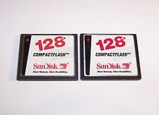 2 SanDisk 128MB Compact Flash Memory Cards Lot of 128 MB CompactFlash I Cards