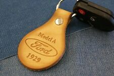 FORD MODEL A 1929 COUPE SEDAN GENUINE TANNED LEATHER KEYCHAIN/FOB