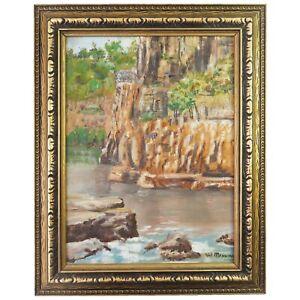 Vintage Framed Oil Painting Plein Air, Val Manning, Katherine Gorge River NT
