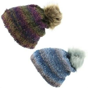 Beanie Hat Cap Warm Winter BLUE PURPLE Bobble Soft Lined Furry Hawkins Unisex