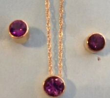 14K Yellow Gold Amethyst Earrings  Necklace Pendant Set