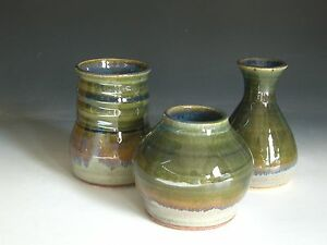 Hand thrown stoneware pottery vase suite of 3  (VS-1)