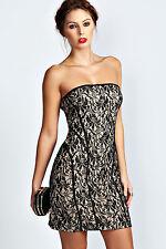 Abito ricamato nudo Aderente pizzo Cerimonia Party Lace Vintage Bandeau Dress