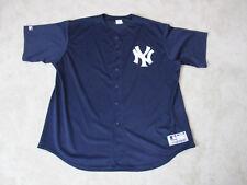 VINTAGE Majestic New York Yankees Baseball Jersey Adult 3XL XXXL Blue Mens 90s