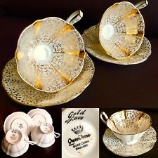 """Pair of Vintage 1950s 24ct Gold Gilded Queen Anne """"Gold Lace"""" Cups & Saucers"""