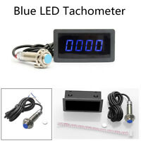 4 Digital Blue LED Tachometer+Pulse Signal NPN Hall Proximity Switch Sensor Kit